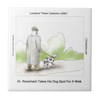 Dr Rorschach Takes Dog Spot 4 A Walk Funny Tile