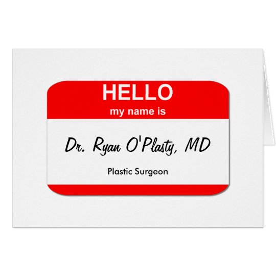 Dr. Ryan O'Plasty, MD Card