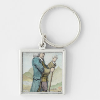 Dr Samuel Johnson Silver-Colored Square Keychain