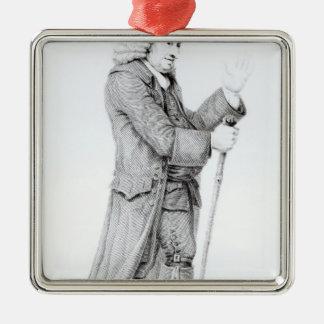 Dr Samuel Johnson Square Metal Christmas Ornament