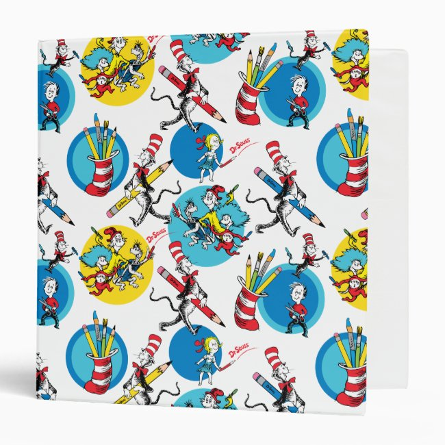 Dr. Seuss | Characters With Pencils Pattern 3 Ring Binder