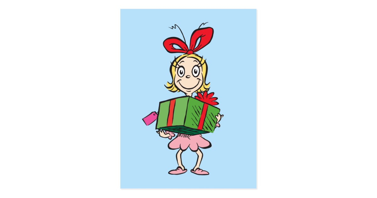 Dr Seuss Cindy Lou Who Holding Present Postcard