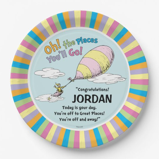 dr seuss oh the places you ll go paper plate zazzle com