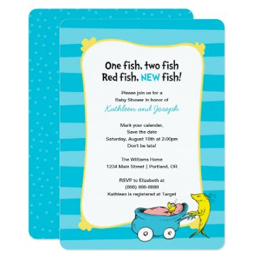Toddler & Baby themed Dr. Seuss | One Fish - Boy Baby Shower Card