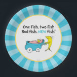 "Dr. Seuss | One Fish - Boy Baby Shower Paper Plate<br><div class=""desc"">It&#39;s a boy! Celebrate your Baby Shower with these super cute customizable &quot;One Fish Two Fish&quot; paper plates.</div>"