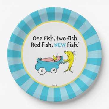 Toddler & Baby themed Dr. Seuss | One Fish - Boy Baby Shower Paper Plate