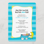 "Dr. Seuss | One Fish - Boy Baby Shower Save The Date<br><div class=""desc"">It&#39;s a boy! Invite all your guests to your Dr. Seuss,  One Fish Two Fish themed baby shower. Personalize these super cute striped invitations with all your baby shower details.</div>"