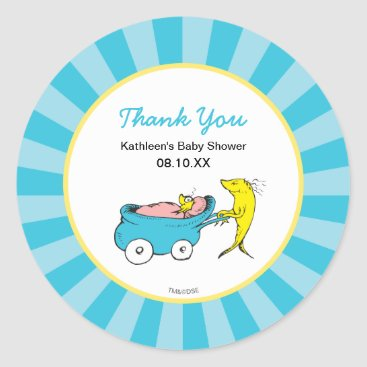 Toddler & Baby themed Dr. Seuss | One Fish - Boy Baby Shower Thank You Classic Round Sticker