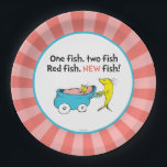 "Dr. Seuss | One Fish - Girl Baby Shower Paper Plate<br><div class=""desc"">It&#39;s a girl! Celebrate your Baby Shower with these super cute customizable &quot;One Fish Two Fish&quot; paper plates.</div>"