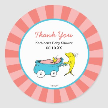 Toddler & Baby themed Dr. Seuss | One Fish - Girl Baby Shower Thank You Classic Round Sticker