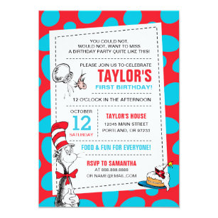 Dr. Seuss | The Cat in the Hat Birthday Invitation