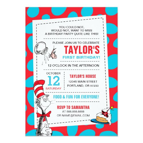 Dr Seuss  The Cat in the Hat Birthday Invitation