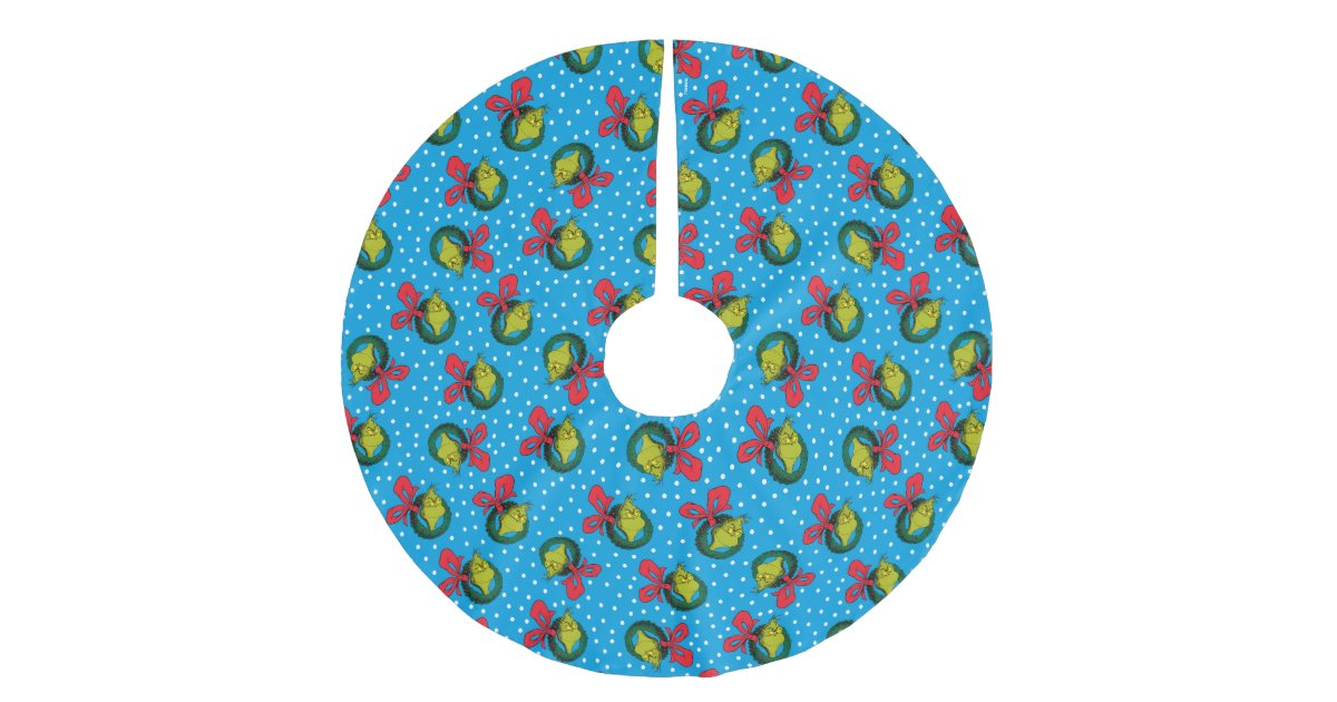 Dr. Seuss   The Grinch   Christmas Wreath Pattern Brushed Polyester Tree Skirt   Zazzle.com