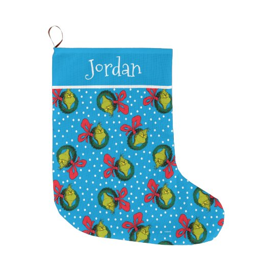 Dr Seuss   The Grinch   Christmas Wreath Pattern Large Christmas Stocking   Zazzle.com