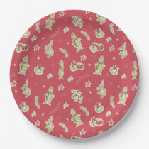 Dr Seuss   The Grinch   Red Christmas Pattern Paper Plate