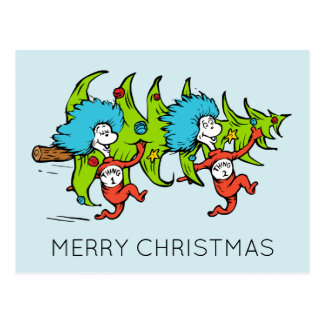 Dr Seuss | The Grinch | Thing 1 Thing 2 Christmas Postcard