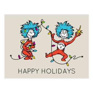 Dr Seuss | The Grinch | Thing 1 & Thing 2 Dancing Postcard