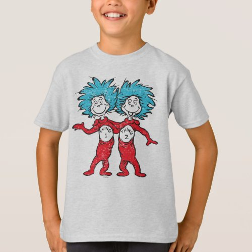 Dr Seuss  Thing 1 Thing 2 Sitting T_Shirt