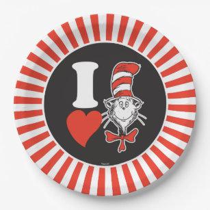 Dr. Seuss Valentine   I Heart the Cat in the Hat Paper Plate  sc 1 st  Zazzle & Dr Seuss Book Plates   Zazzle