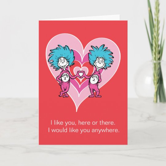 dr seuss valentine thing 1 thing 2 holiday card zazzle com