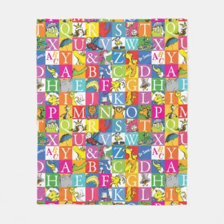 Dr. Seuss's ABC Colorful Block Letter Pattern Fleece Blanket