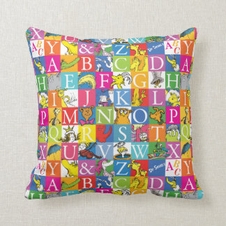 Dr. Seuss's ABC Colorful Block Letter Pattern Throw Pillow