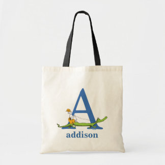Dr. Seuss's ABC: Letter A  - Blue   Add Your Name Tote Bag