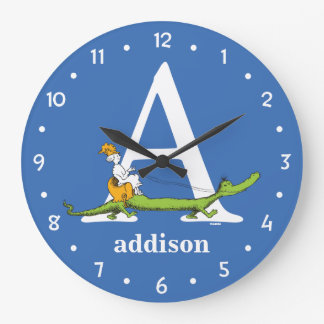 Dr. Seuss's ABC: Letter A - White | Add Your Name Large Clock