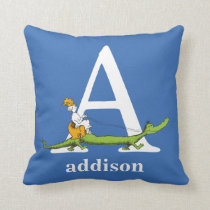 Dr. Seuss's ABC: Letter A - White | Add Your Name Throw Pillow