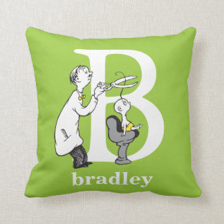 Dr. Seuss's ABC: Letter B - White | Add Your Name Throw Pillow