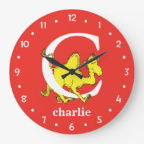 Dr. Seuss's ABC: Letter C - White   Add Your Name Large Clock