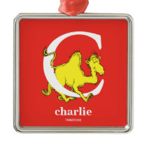Dr. Seuss's ABC: Letter C - White   Add Your Name Metal Ornament