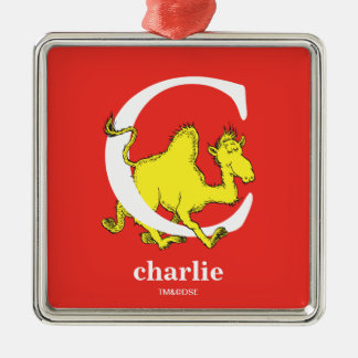Dr. Seuss's ABC: Letter C - White | Add Your Name Metal Ornament