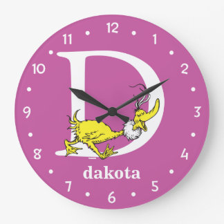 Dr. Seuss's ABC: Letter D - White | Add Your Name Large Clock