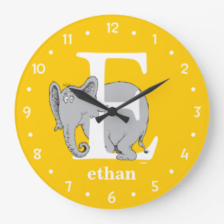Dr. Seuss's ABC: Letter E - White | Add Your Name Large Clock