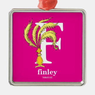 Dr. Seuss's ABC: Letter F - White   Add Your Name Metal Ornament