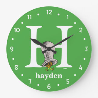 Dr. Seuss's ABC: Letter H - White | Add Your Name Large Clock