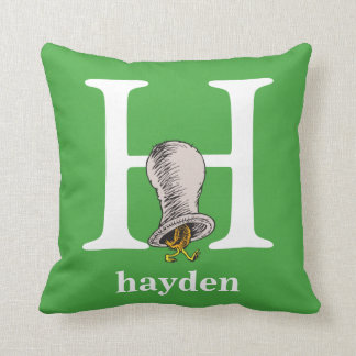 Dr. Seuss's ABC: Letter H - White | Add Your Name Throw Pillow