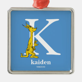 Dr. Seuss's ABC: Letter K - White | Add Your Name Metal Ornament