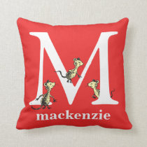 Dr. Seuss's ABC: Letter M - White | Add Your Name Throw Pillow