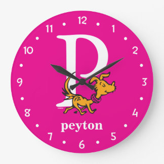 Dr. Seuss's ABC: Letter P - White | Add Your Name Large Clock