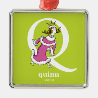 Dr. Seuss's ABC: Letter Q - White | Add Your Name Metal Ornament