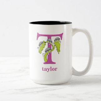 Dr. Seuss's ABC: Letter T - Purple   Add Your Name Two-Tone Coffee Mug