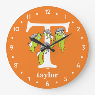 Dr. Seuss's ABC: Letter T - White | Add Your Name Large Clock
