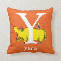 Dr. Seuss's ABC: Letter Y - White | Add Your Name Throw Pillow