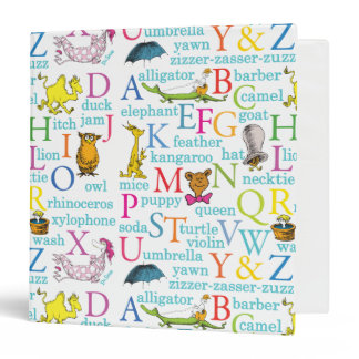 Dr. Seuss's ABC Pattern with Words 3 Ring Binder