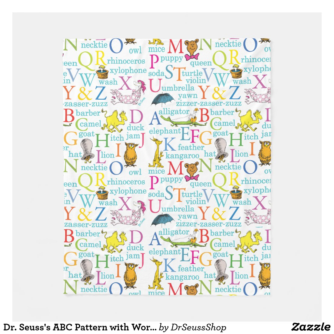Dr. Seuss's ABC Pattern with Words Fleece Blanket