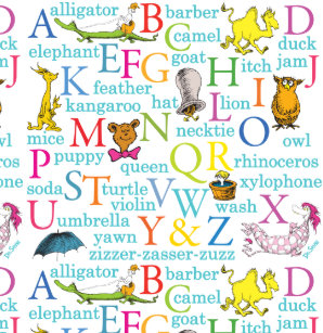 Dr Seusss ABC Pattern With Words Shower Curtain
