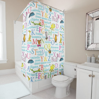 Dr. Seuss's ABC Pattern with Words Shower Curtain