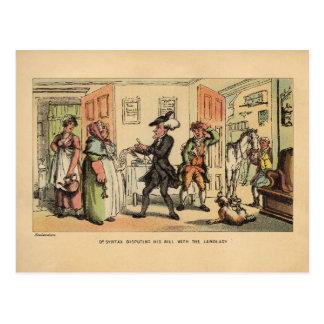 Dr Syntax disputing his bill with the landlady Postcard